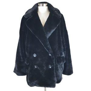 Free People Kate Faux Fur Coat in Black